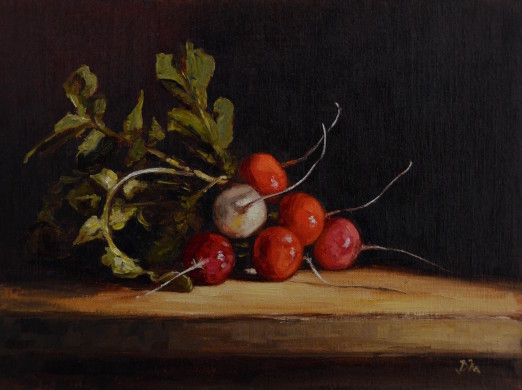 Radishes Painting by Begoña Morton