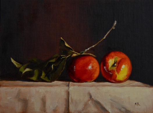 Two Apples painting by Begoña Morton